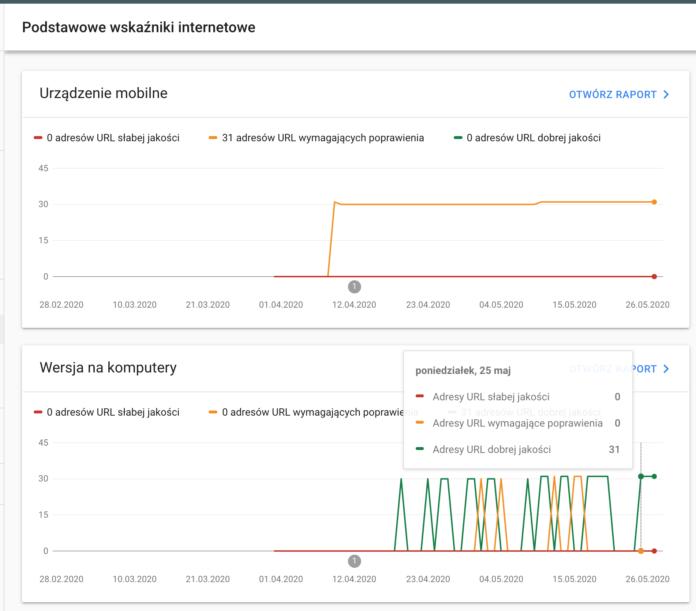Podstawowe wskaźniki internetowe w Google Search Console