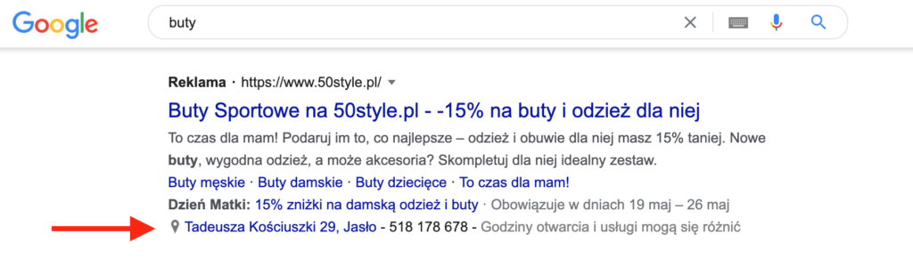 reklama Google Ads z rozszerzeniem lokalizacji
